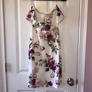 NWT white floral strapless dress - 1